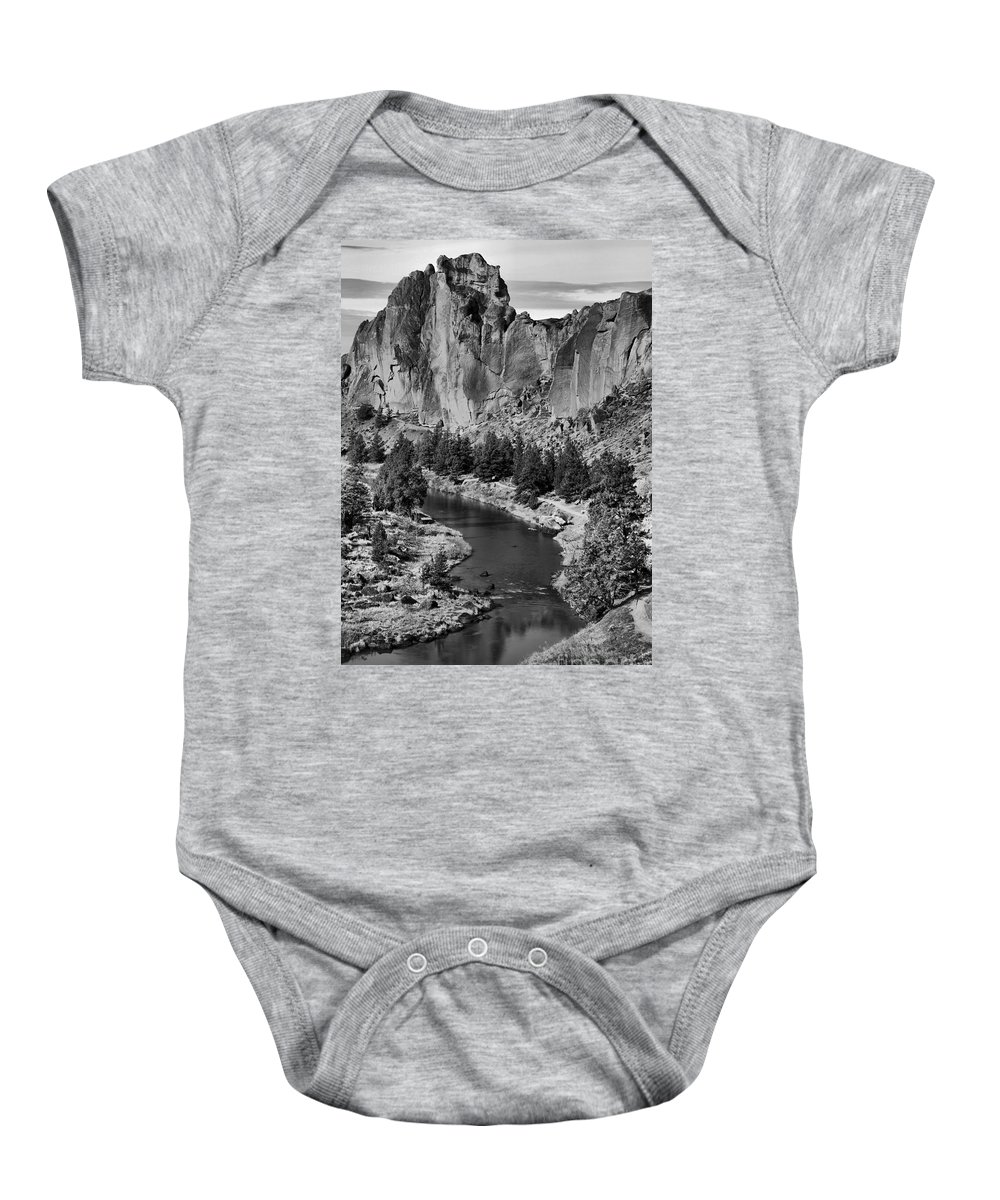 Black And White Baby Onesie featuring the photograph Black And White Smith Rock Portrait by Adam Jewell