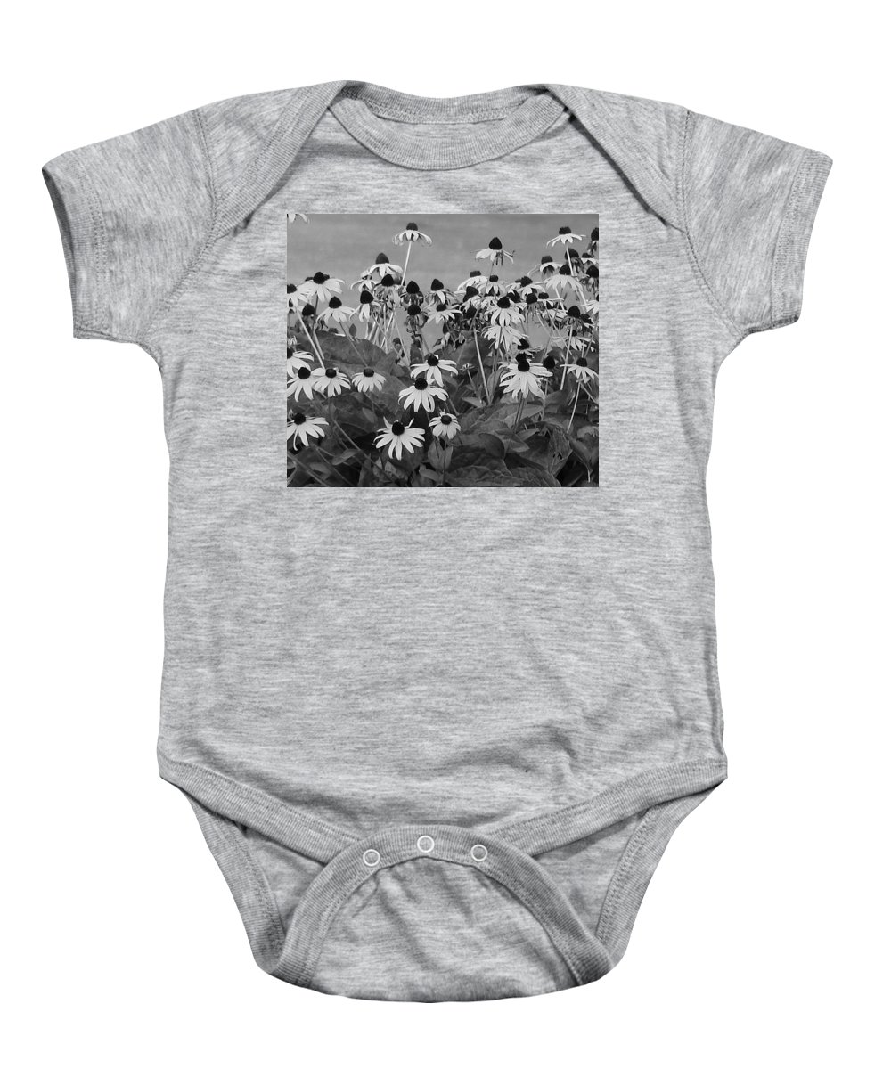 Baby Onesie featuring the photograph Black And White Susans by Luciana Seymour
