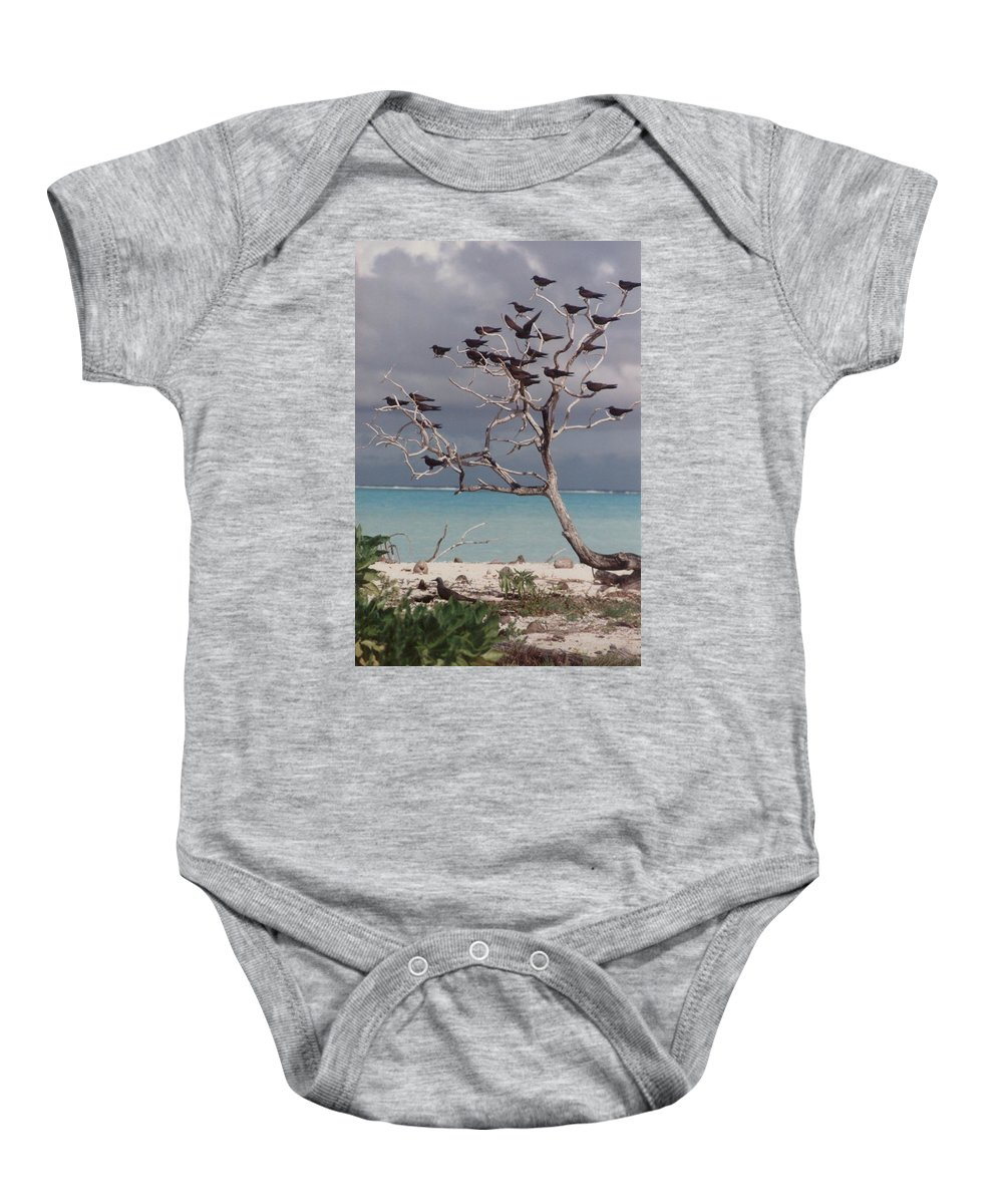Charity Baby Onesie featuring the photograph Black Birds by Mary-Lee Sanders