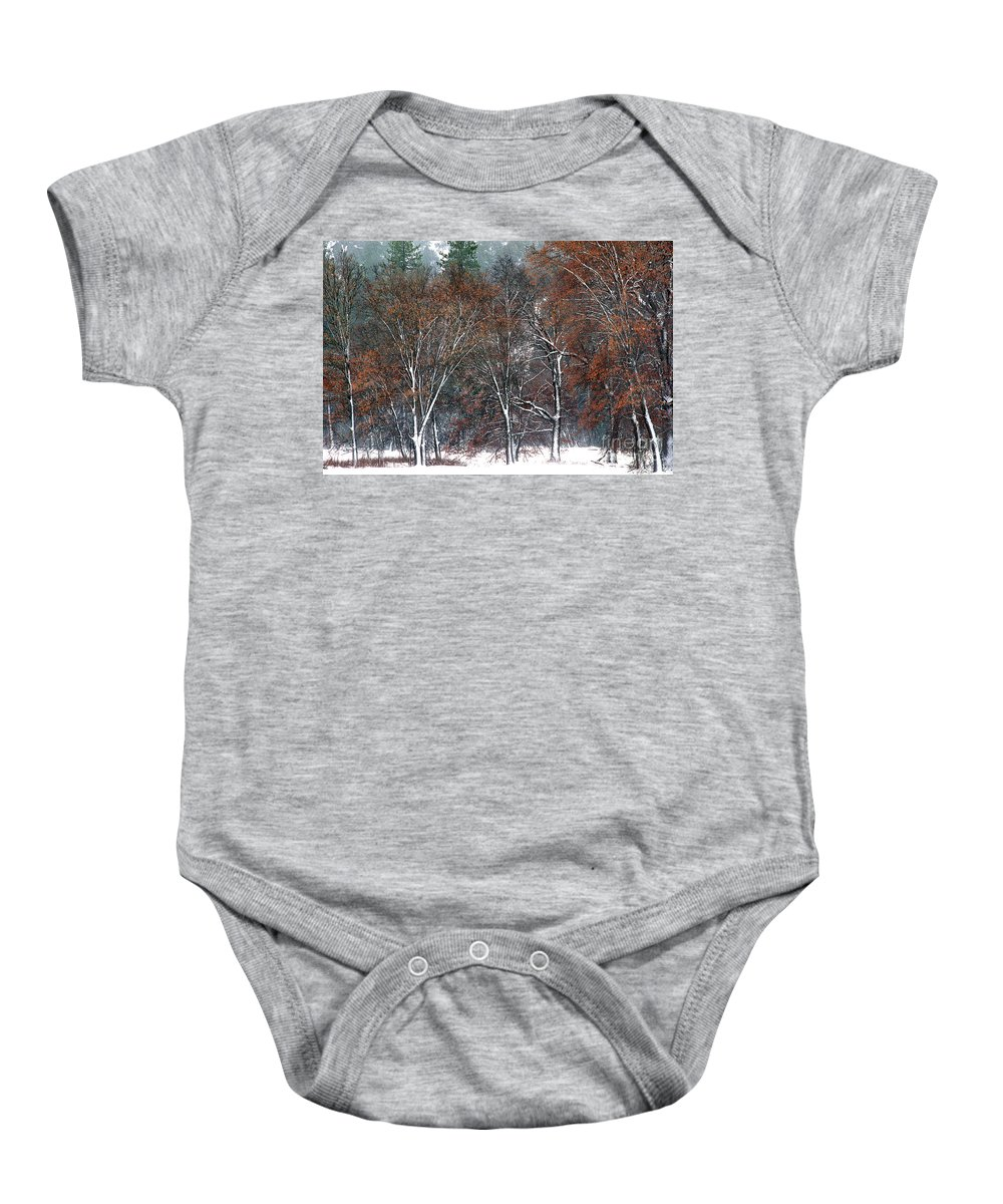 Black Oaks Baby Onesie featuring the photograph Black Oaks In Snowstorm Yosemite National Park by Dave Welling