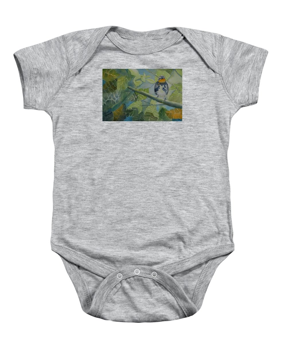 Bird Baby Onesie featuring the painting Blackburnian Warbler I by Ruth Kamenev