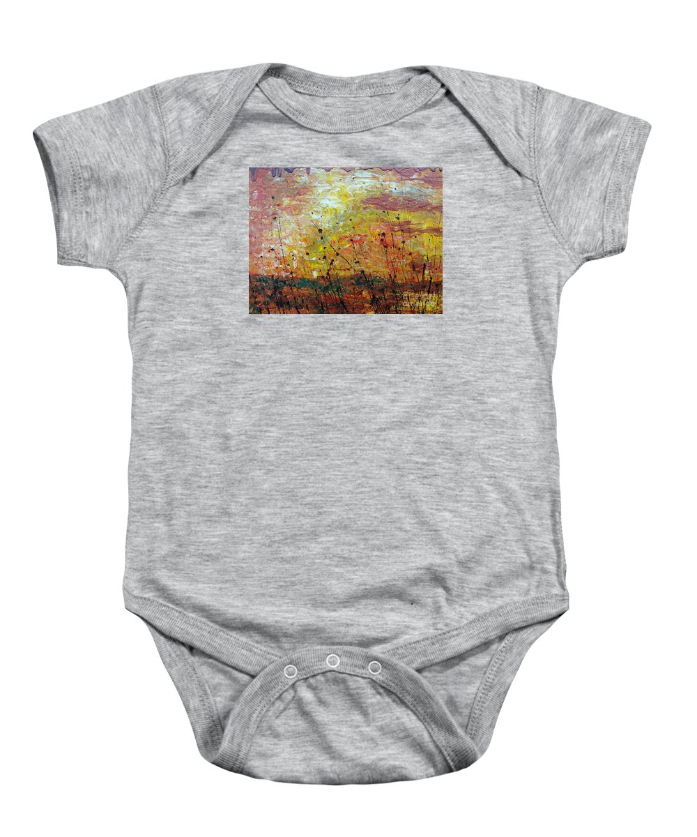 Blazing Prairie Baby Onesie featuring the painting Blazing Prairie by Jacqueline Athmann