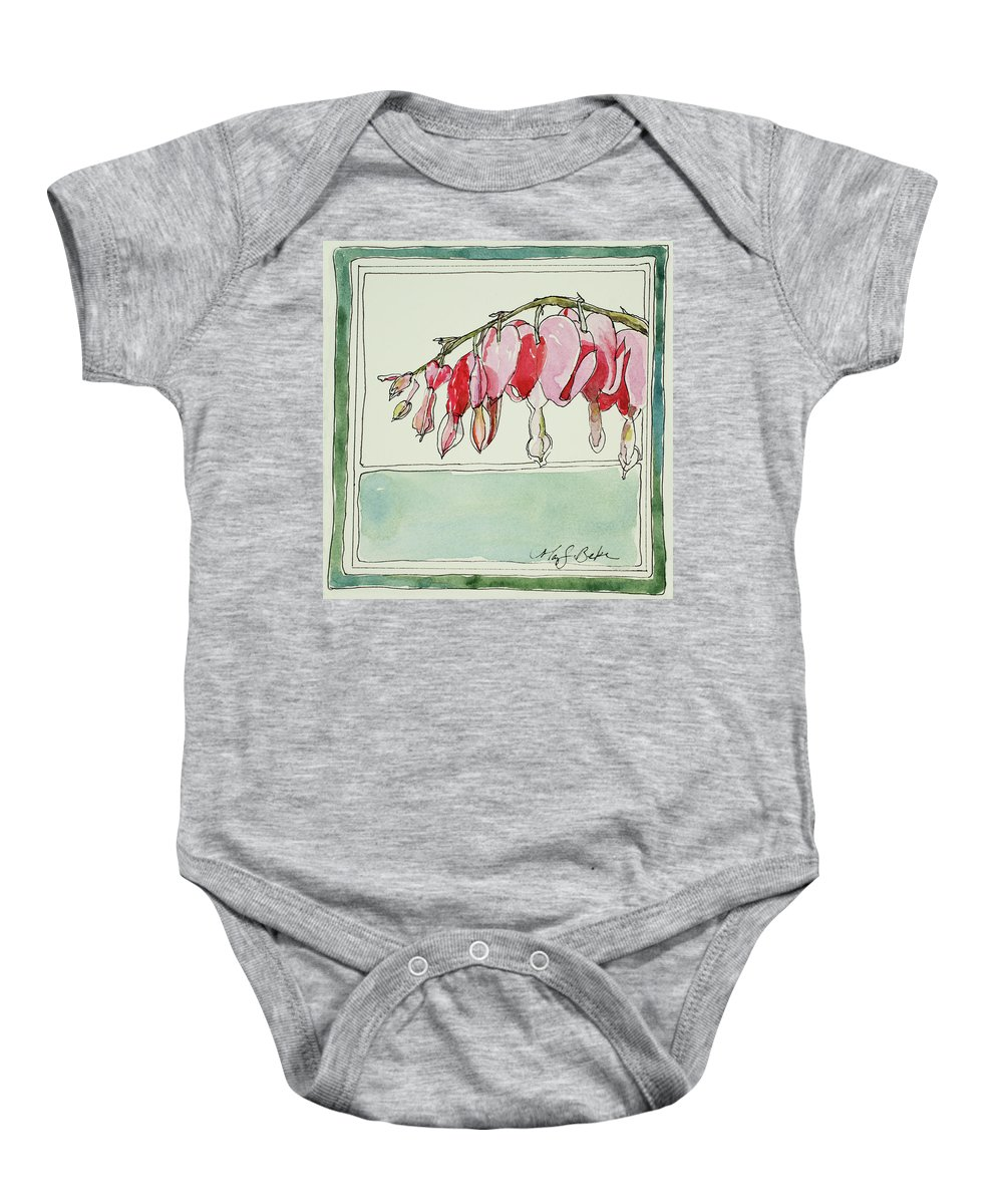 Watercolor Baby Onesie featuring the painting Bleeding Hearts II by Mary Benke