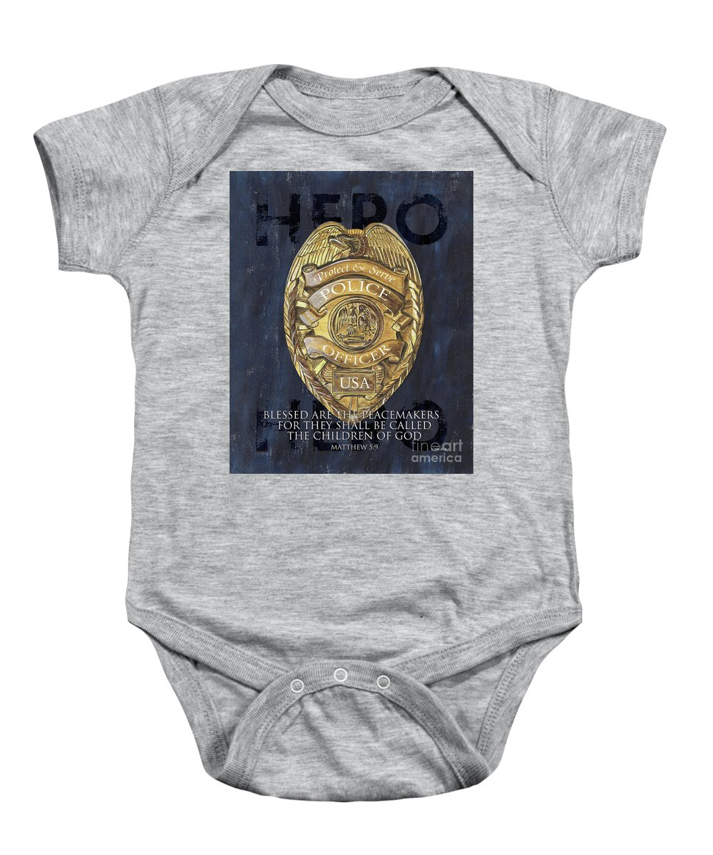 Police Baby Onesie featuring the painting Blessed Are The Peacemakers by Debbie DeWitt