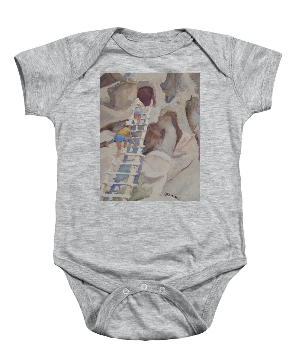Ladder Baby Onesie featuring the sculpture Blond Indians by Jenny Armitage