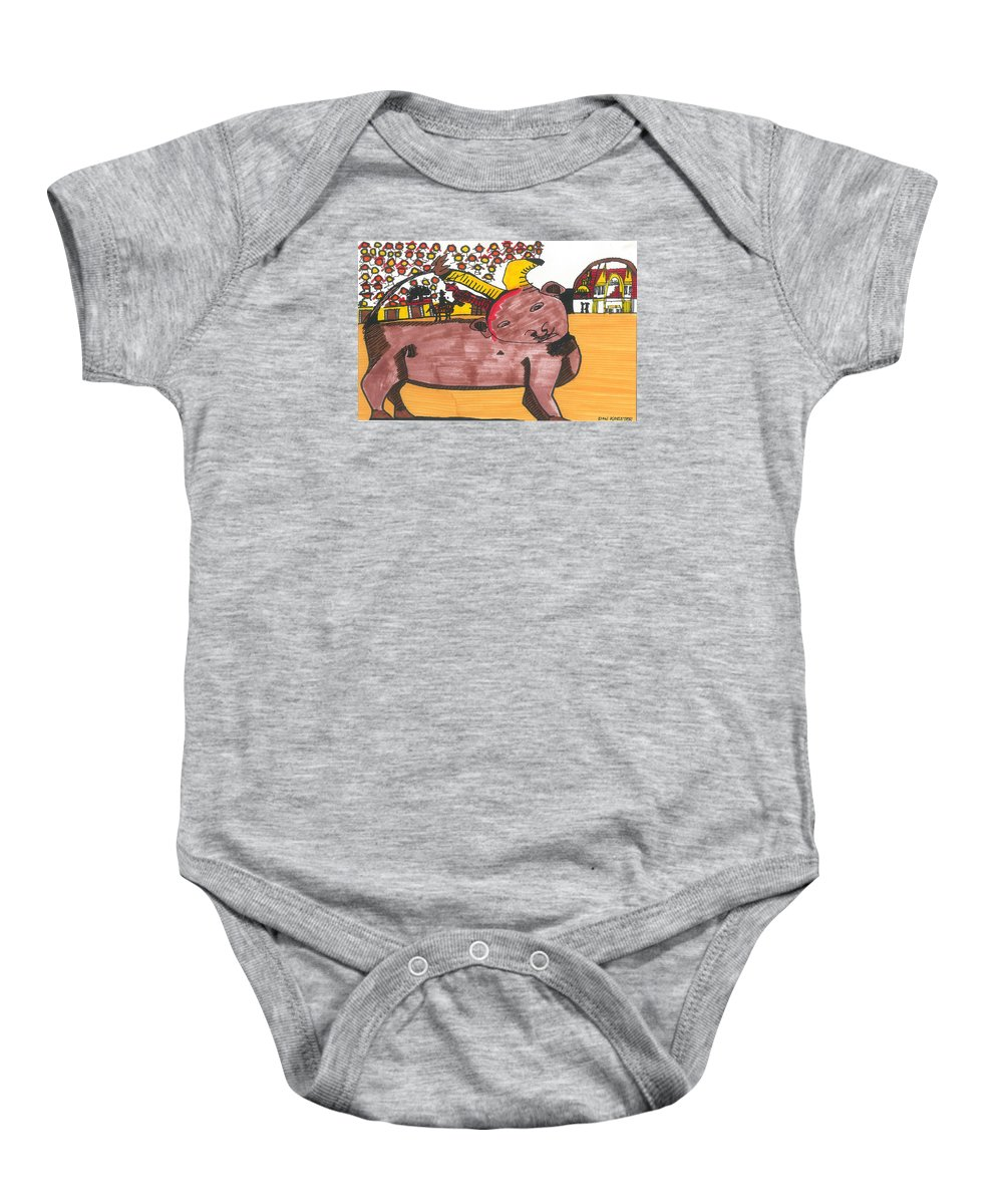 Bull Baby Onesie featuring the painting Blood Of The Bull by Don Koester