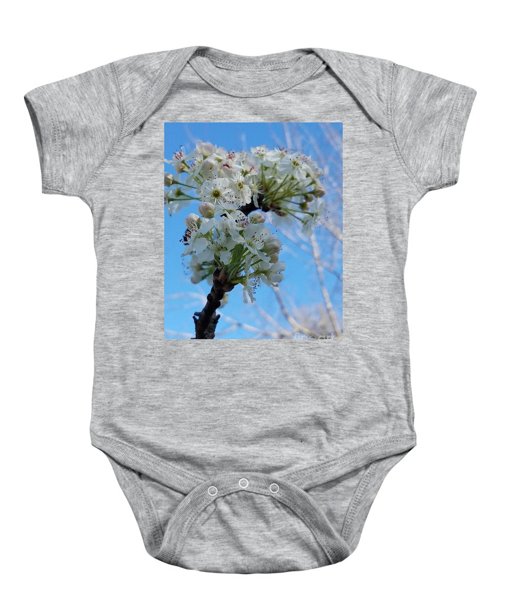 Blossoming Pear Baby Onesie featuring the photograph Blossoming Pear by Maria Urso