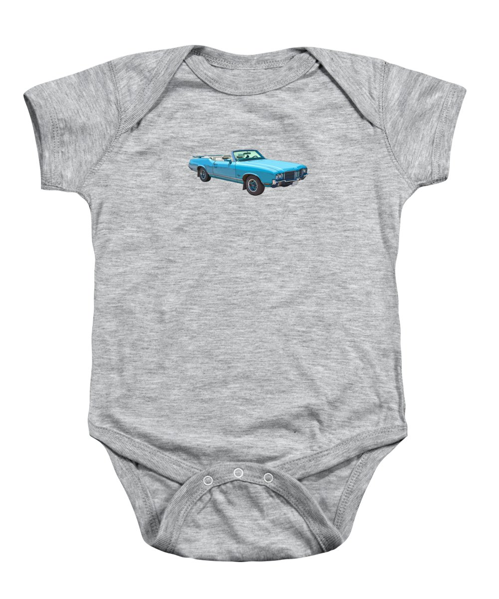 1971 Oldsmobile Cutlass Baby Onesie featuring the photograph Blue 1971 Oldsmobile Cutlass Supreme Convertible by Keith Webber Jr