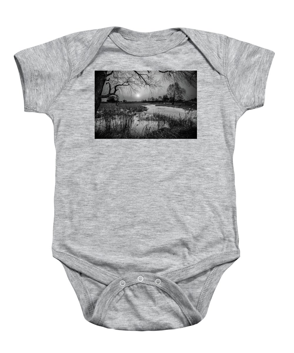 Other Keywords Baby Onesie featuring the digital art Blue Bayou Bw by Michael Damiani