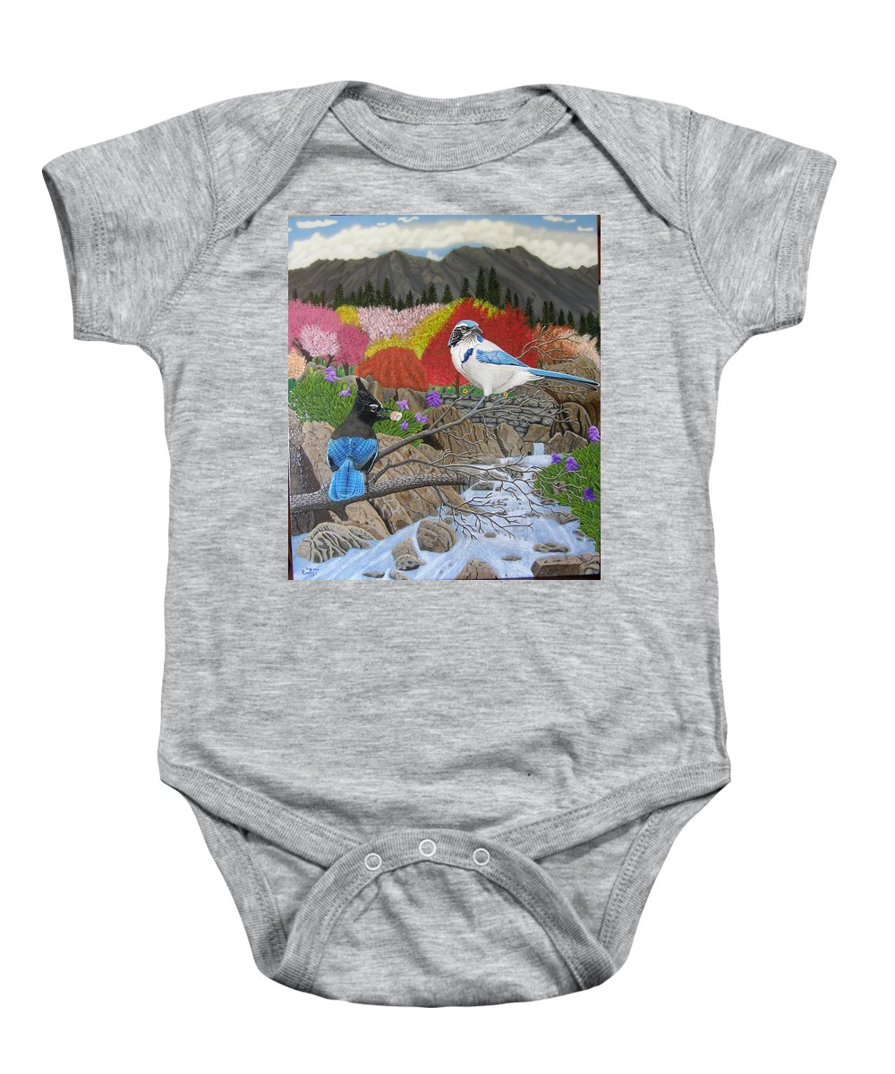 Birds Baby Onesie featuring the painting Blue Birds by Terry Cooley