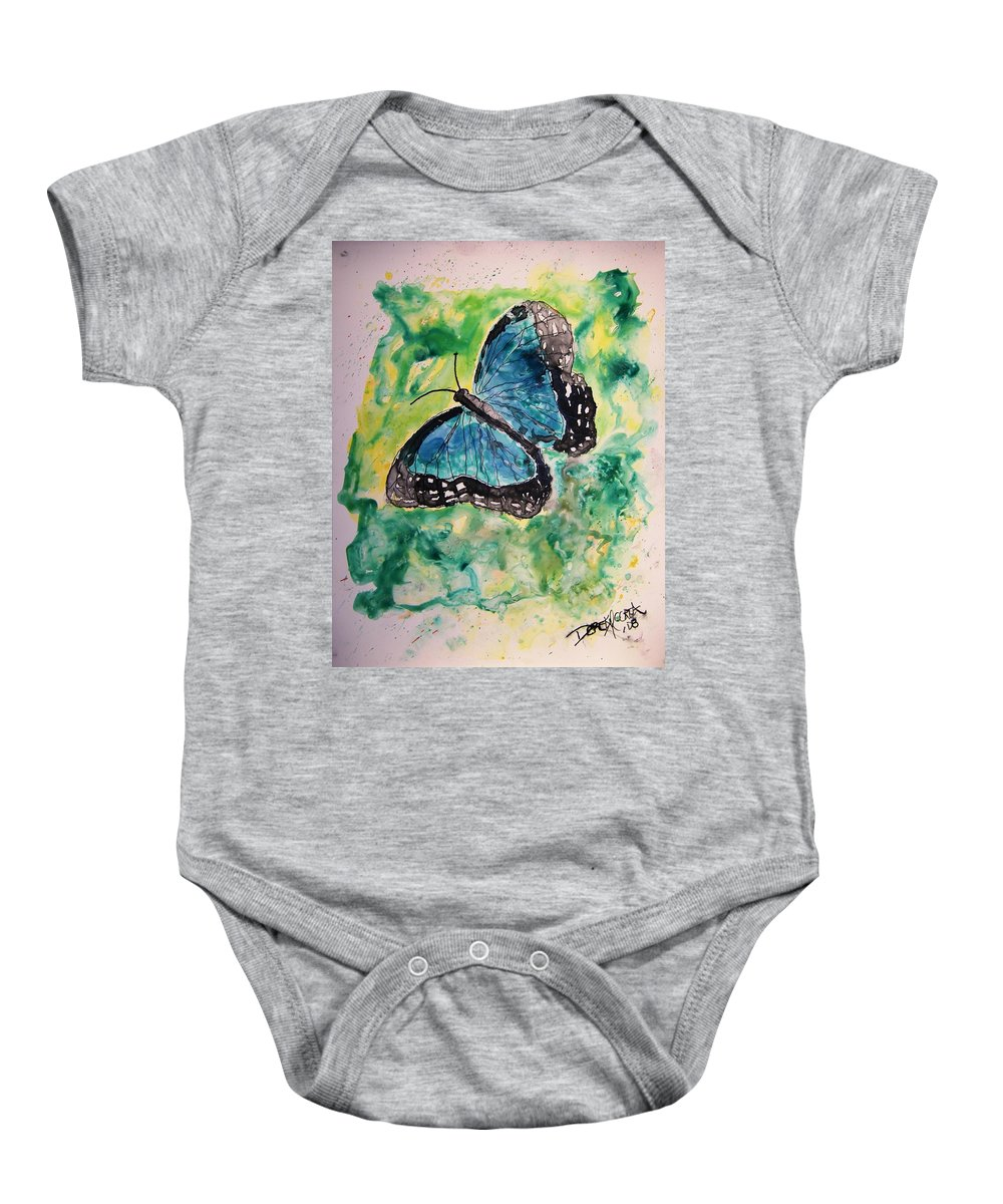 Wildlife Baby Onesie featuring the painting Blue Butterfly by Derek Mccrea