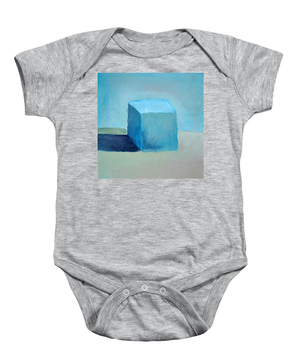 Blue Baby Onesie featuring the painting Blue Cube Still Life by Michelle Calkins