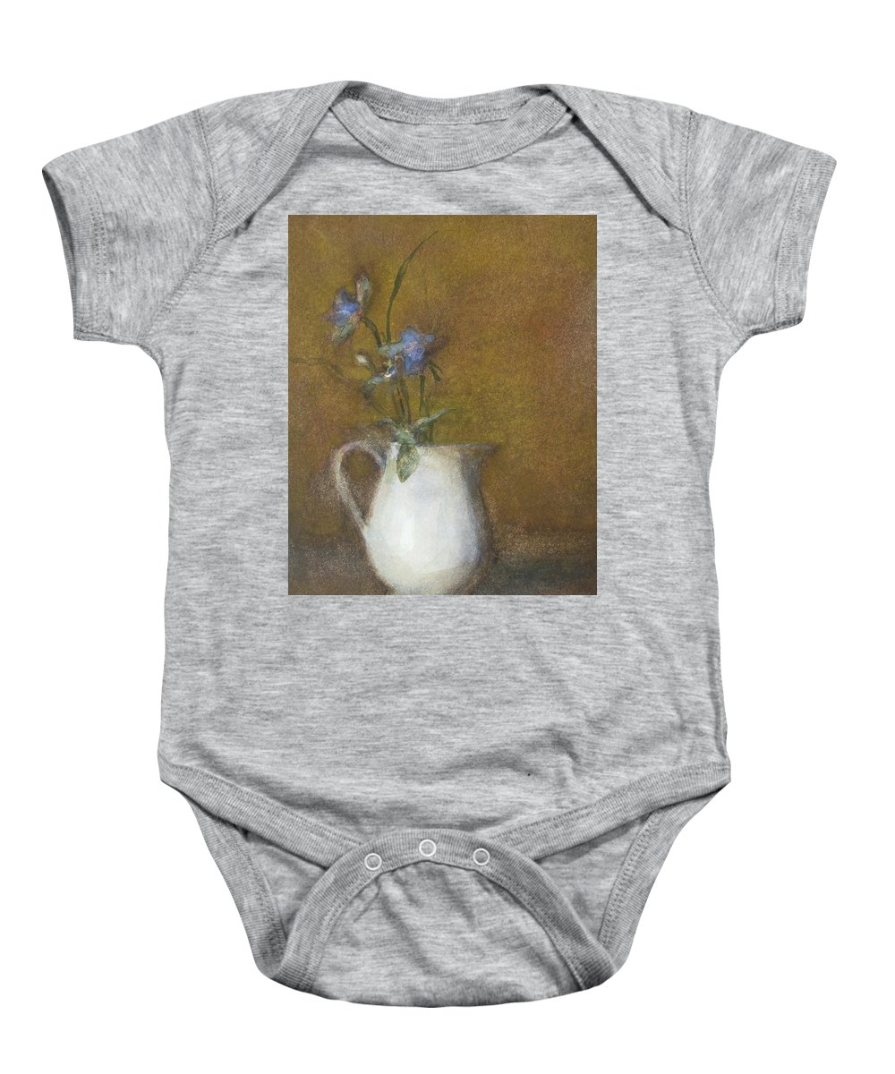Floral Still Life Baby Onesie featuring the painting Blue Flower by Joan DaGradi