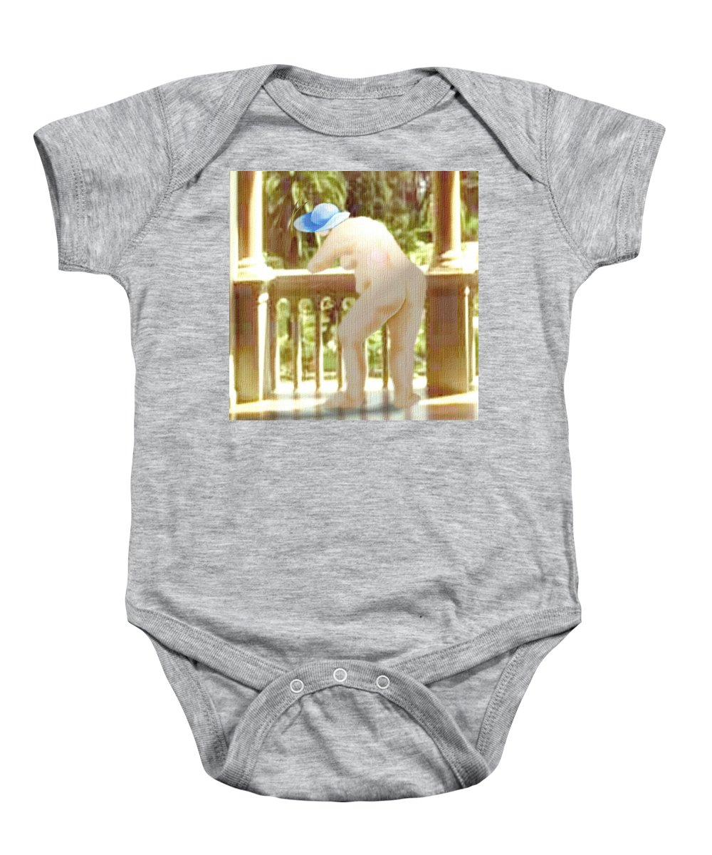Woman Blue Hat Morning Nature Balcony Baby Onesie featuring the digital art Blue Hat by Veronica Jackson