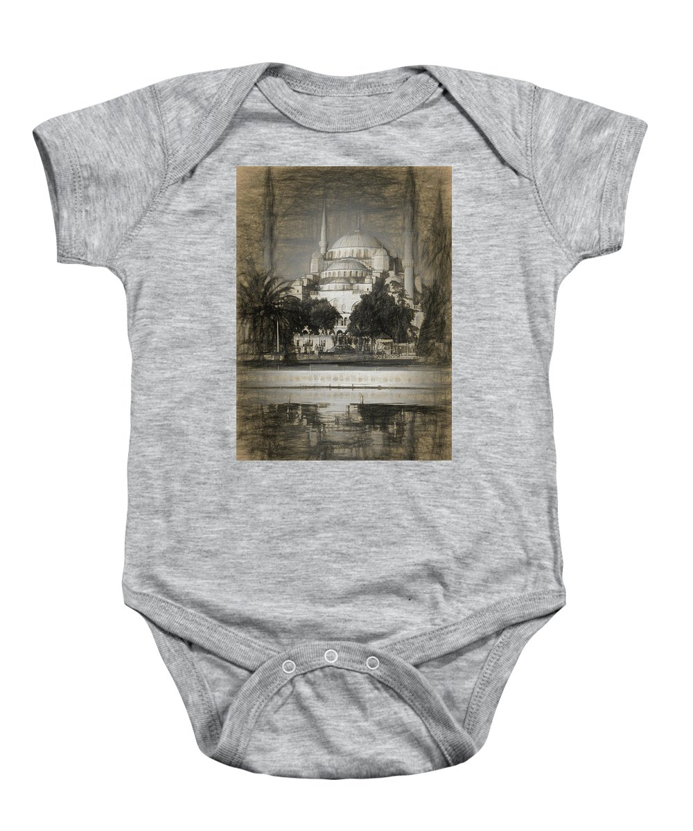 Ancient Baby Onesie featuring the photograph Blue Mosque - Sketch by Stephen Stookey