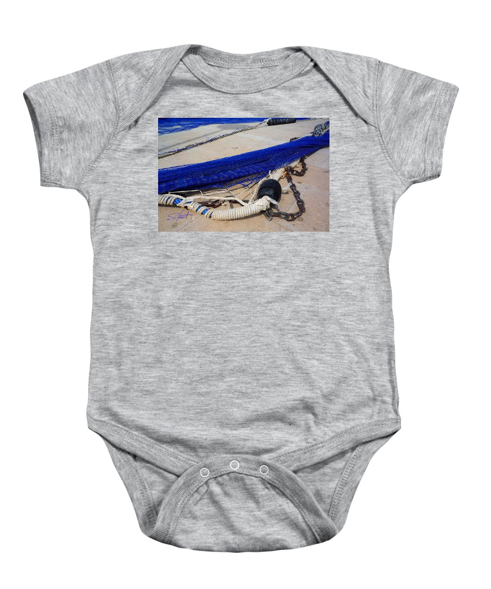 Fishing Net Baby Onesie featuring the photograph Blue Net by Charles Stuart