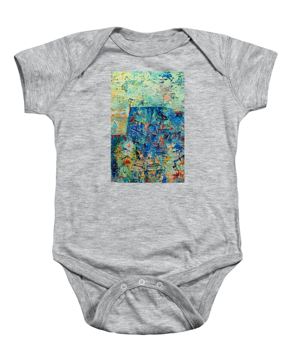 Blue Baby Onesie featuring the painting Blue Play 2 by Ana Maria Edulescu