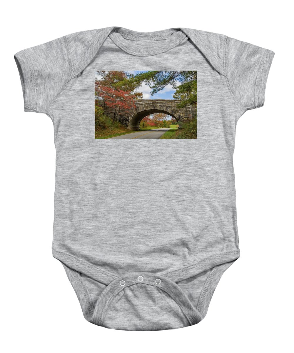 Fall Baby Onesie featuring the photograph Blue Ridge Parkway Stone Arch Bridge by Kevin Craft