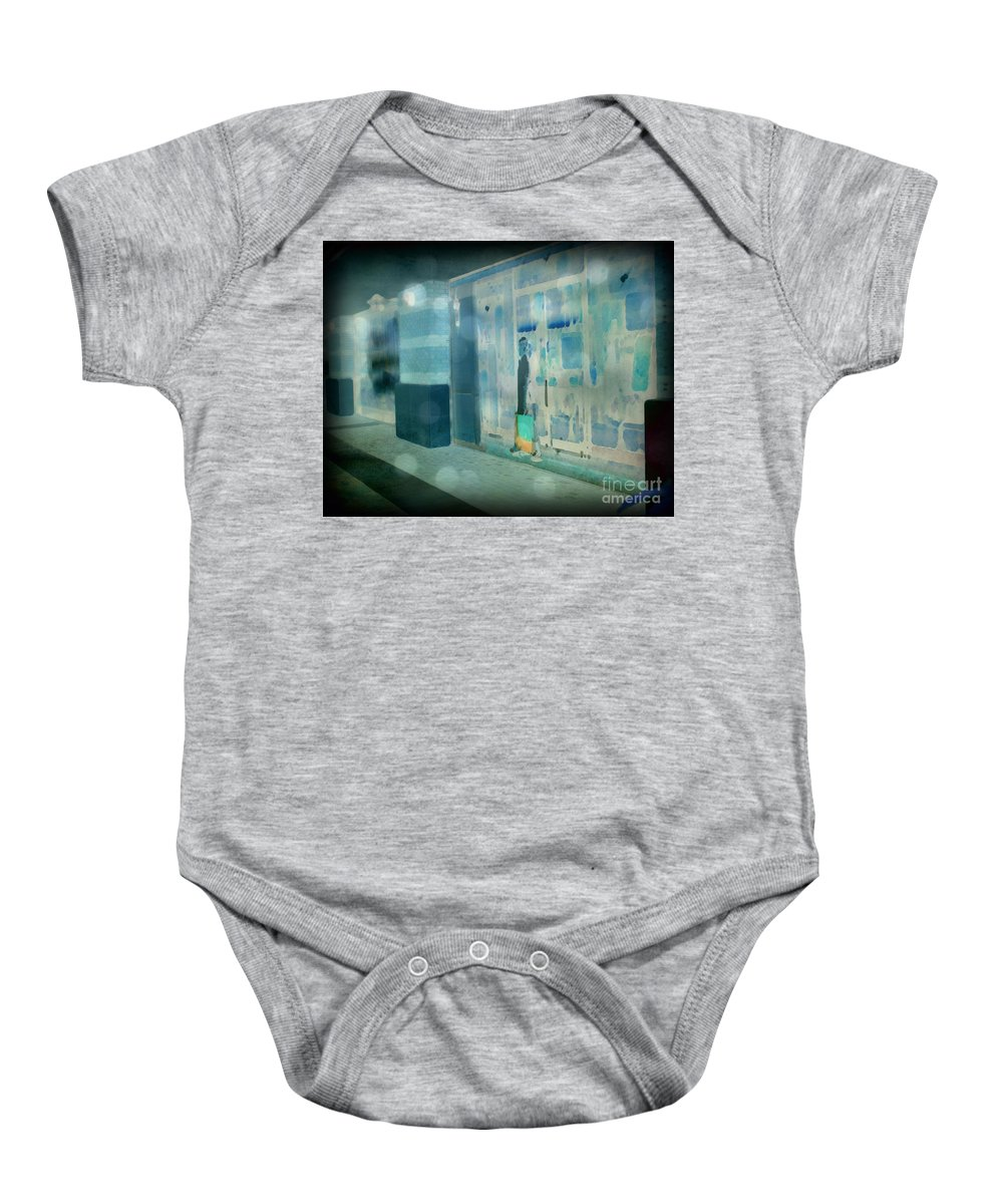 Post Processed Baby Onesie featuring the photograph Blue Shopper by Paulette B Wright