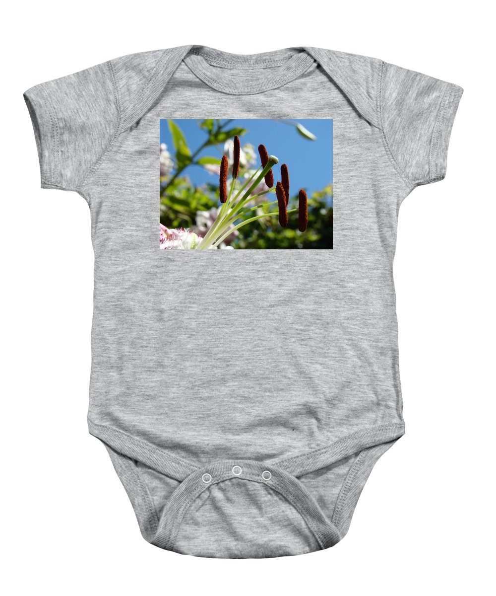 Lilies Baby Onesie featuring the photograph Blue Sky Sunny Floral Pink Lily Flower Baslee Troutman by Baslee Troutman