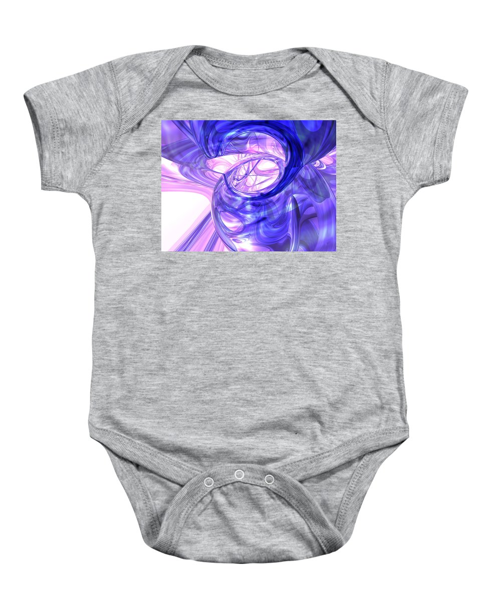 3d Baby Onesie featuring the digital art Blue Smoke Abstract by Alexander Butler