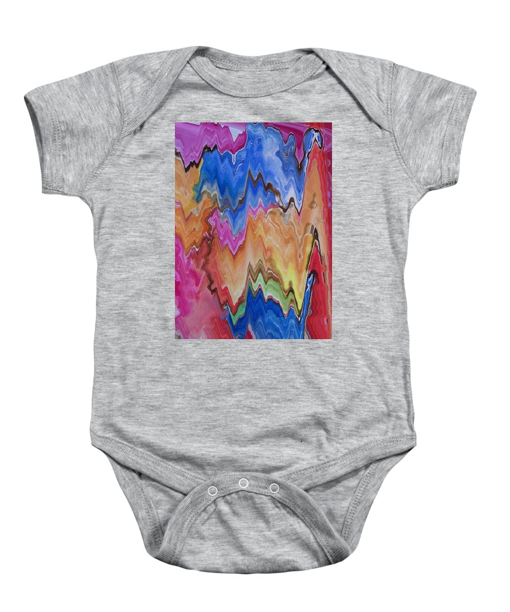 Abstract Baby Onesie featuring the digital art Blue Turkeys And Lightning by Lenore Senior