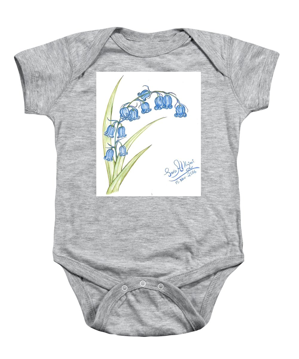 Baby Onesie featuring the drawing Bluebells by Sara Alhajeri