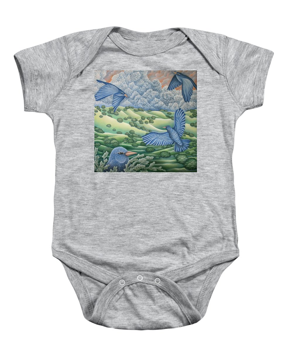 Baby Onesie featuring the painting Bluebirds Of Happiness by Jeniffer Stapher-Thomas