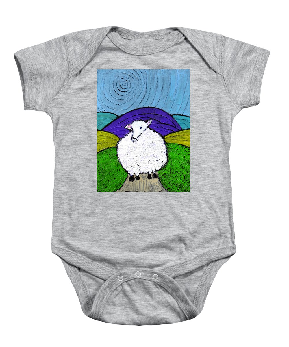 Sheep Baby Onesie featuring the painting Bo Peeps Lost Sheep by Wayne Potrafka