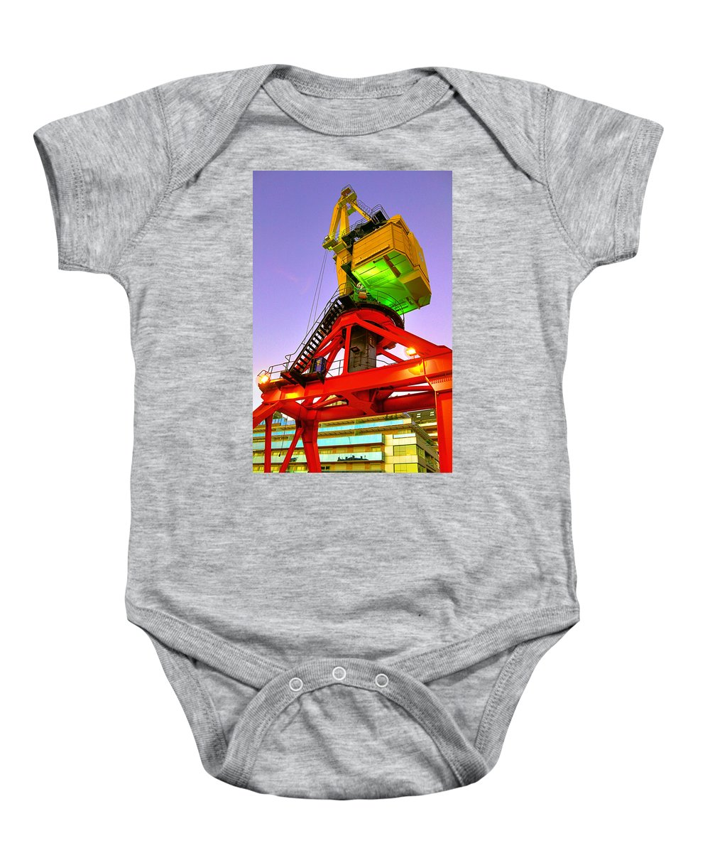 Buenos Baby Onesie featuring the photograph Boat Crane by Francisco Colon