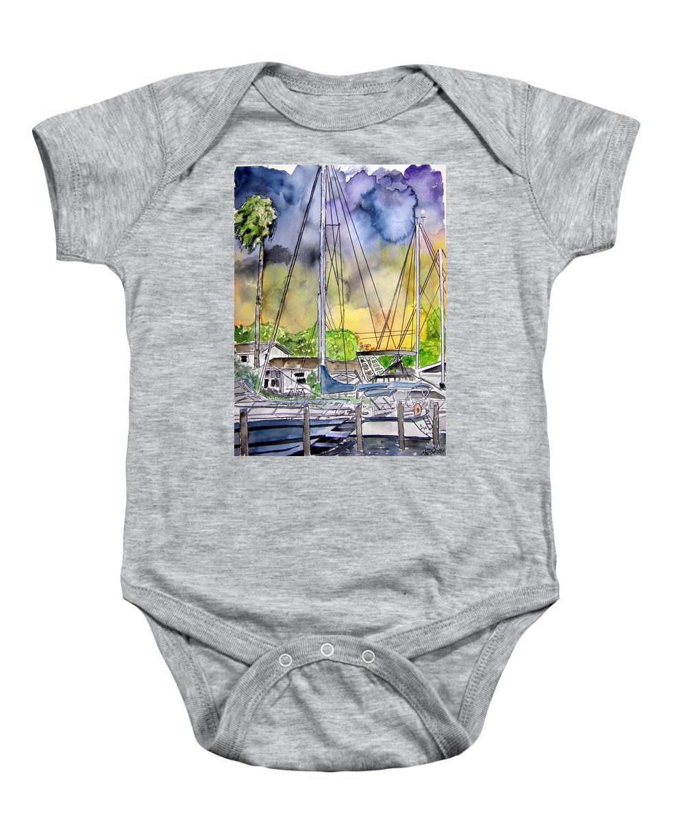 Marina Baby Onesie featuring the painting Boat Marina by Derek Mccrea
