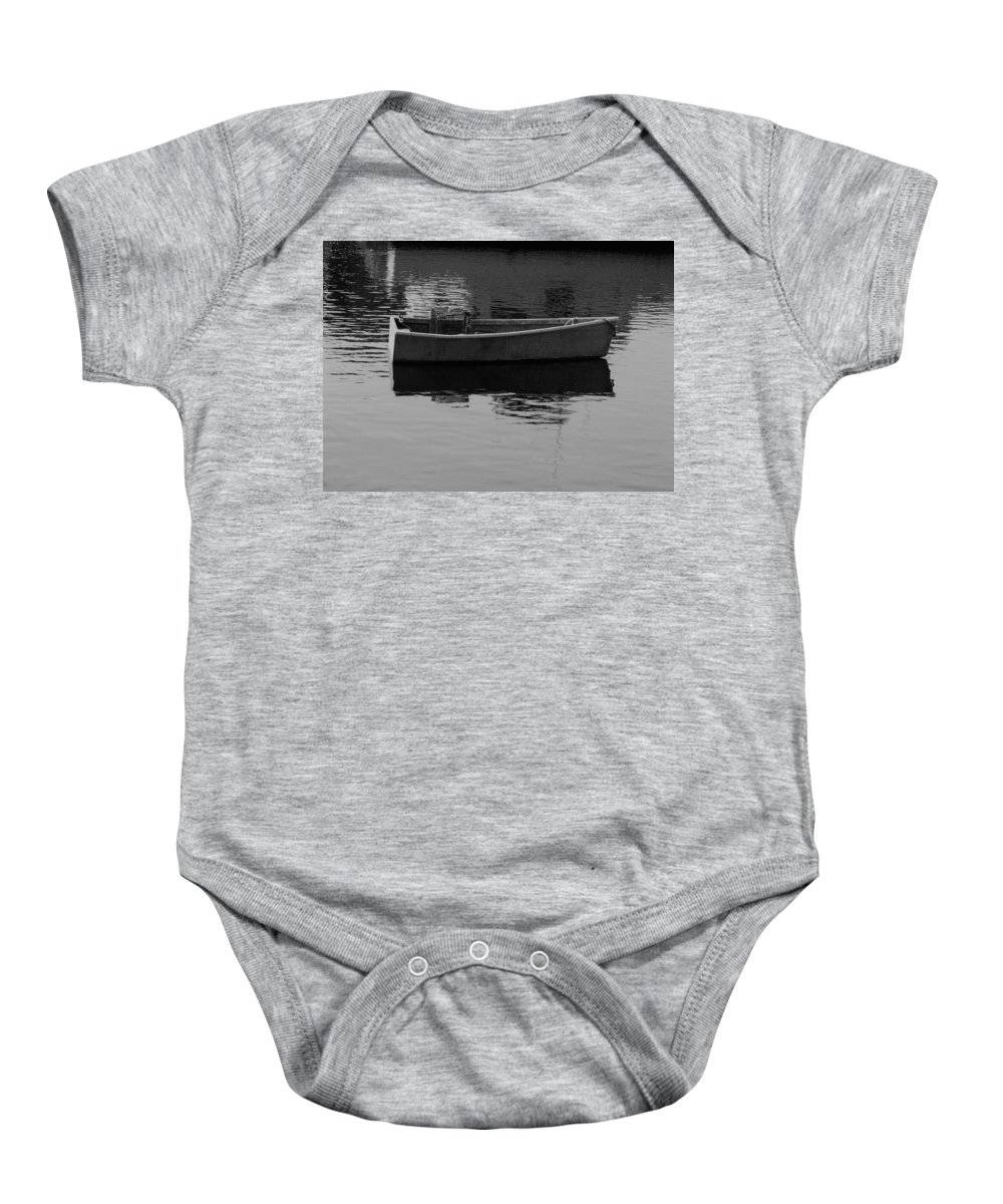 New England Baby Onesie featuring the photograph Boat Reflections by Nancie DeMellia