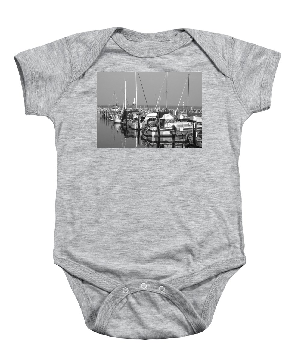 Sailboats Baby Onesie featuring the photograph Boats And Reflections B-w by Anita Burgermeister