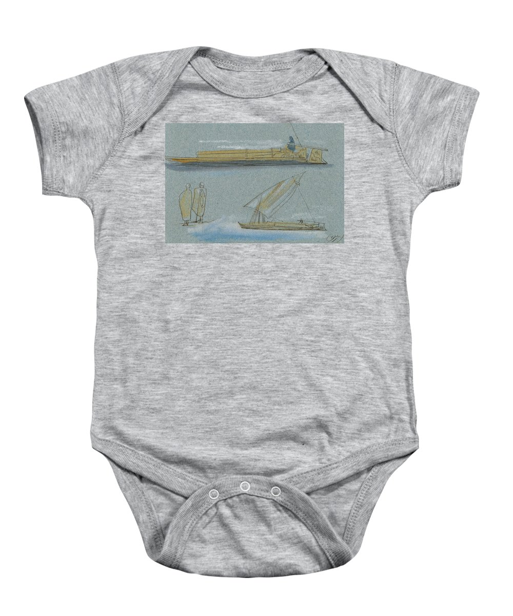 English Art Baby Onesie featuring the drawing Boats On The Nile by Edward Lear