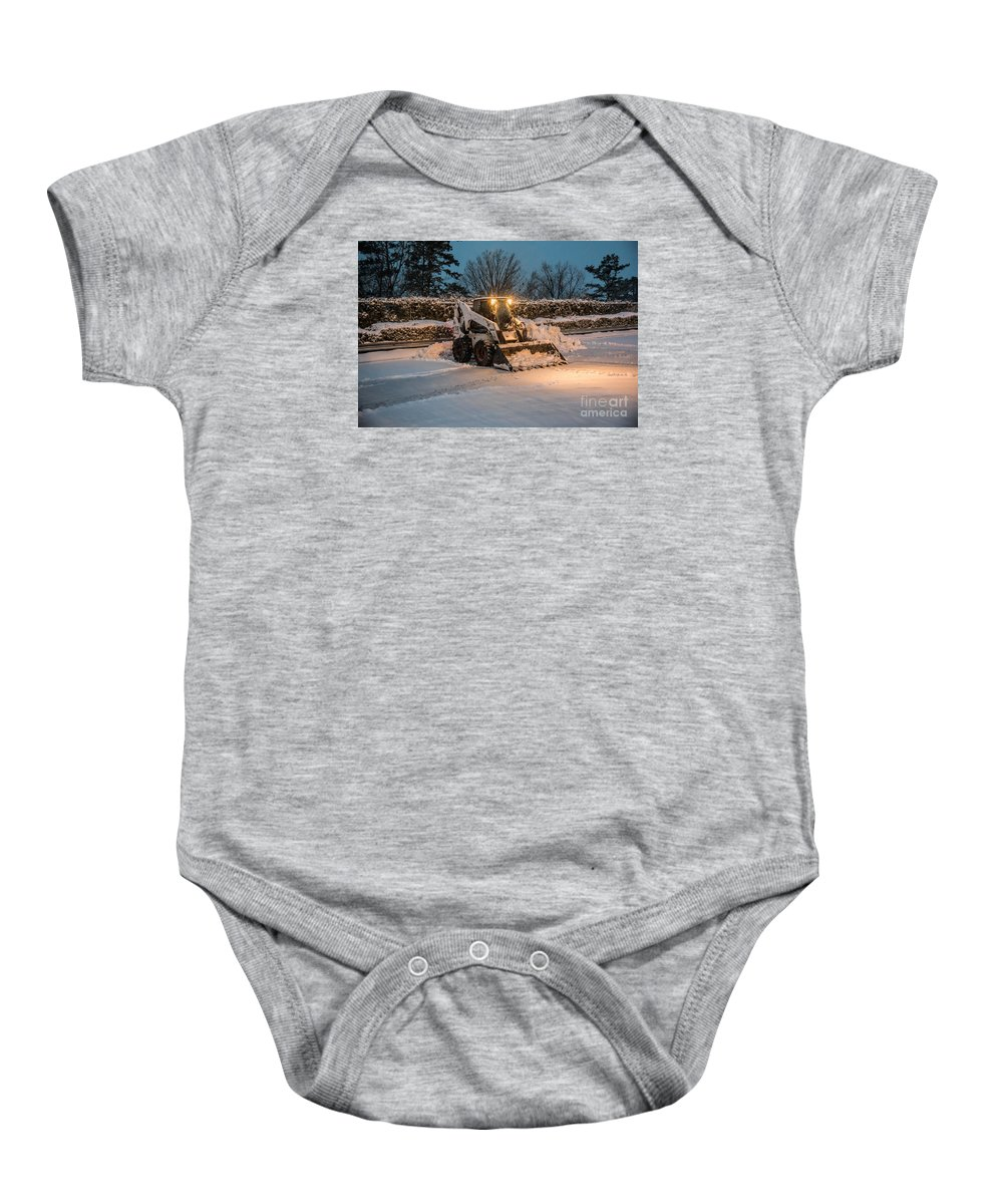 Blizzard Baby Onesie featuring the photograph Bob Cat Snow by Robert Loe