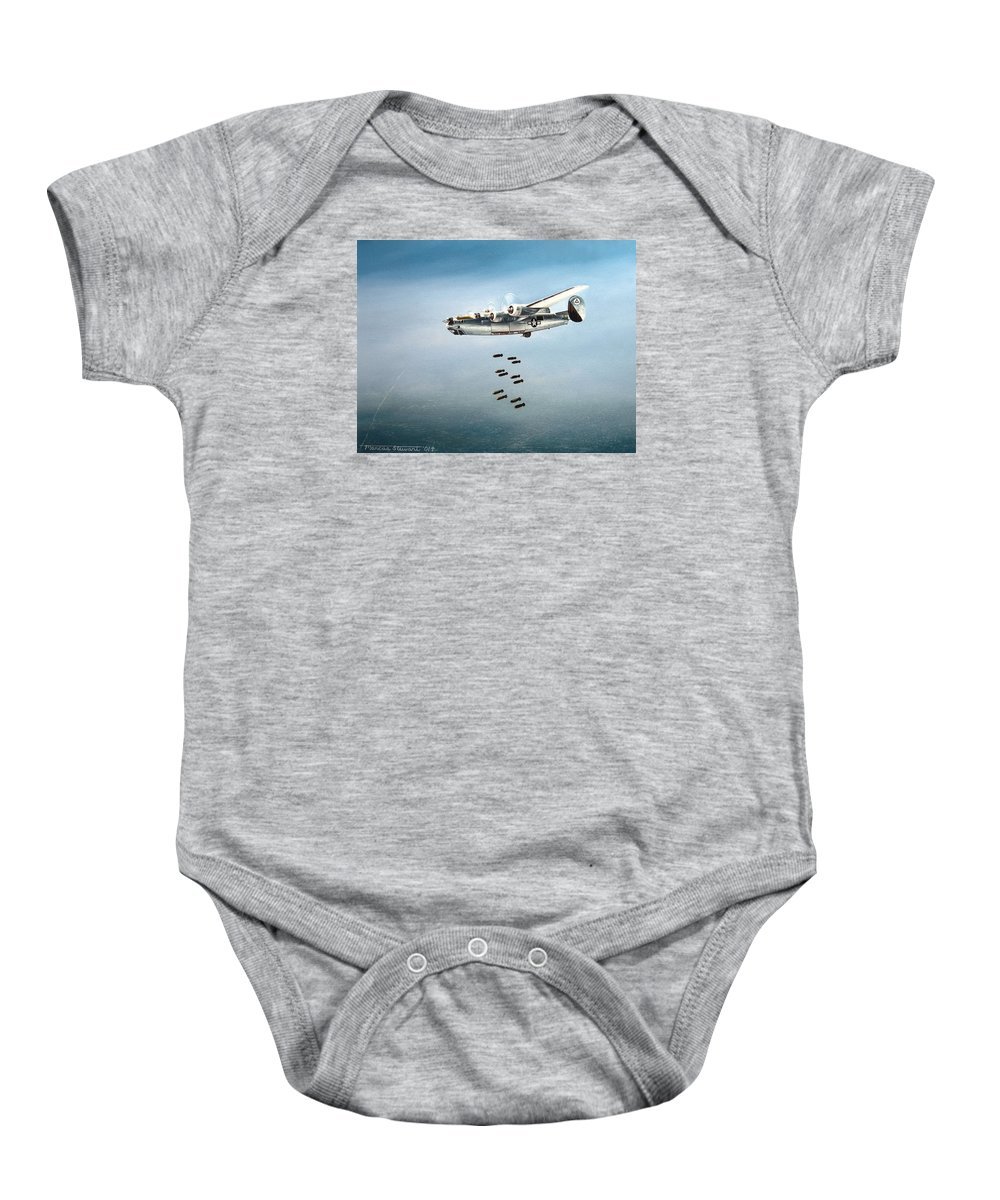 Aviation Baby Onesie featuring the painting Bombs Away by Marc Stewart