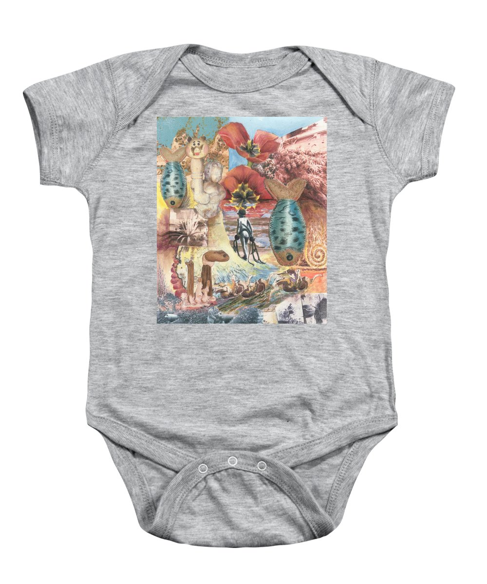 Abstract Baby Onesie featuring the digital art Bombs Away by Valerie Meotti