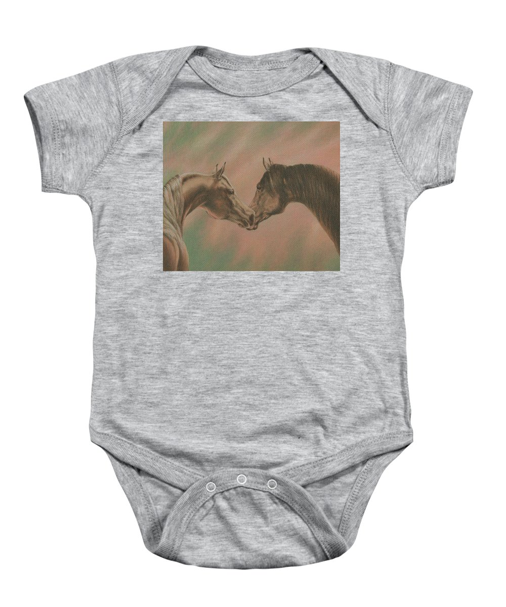 Horse Baby Onesie featuring the drawing Bonding by Yelena Shabrova
