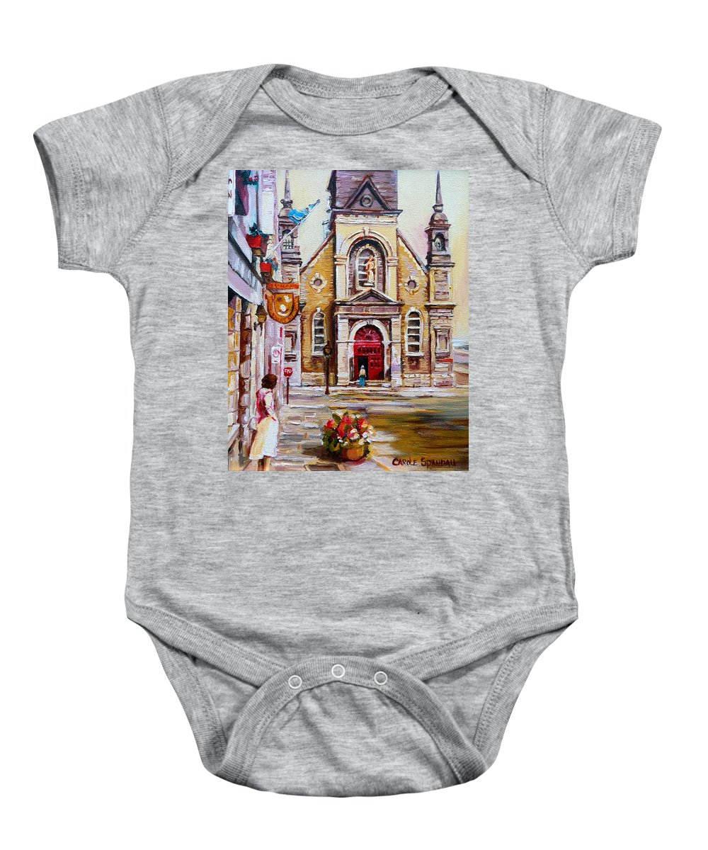 Montreal Churches Baby Onesie featuring the painting Bonsecours Church by Carole Spandau