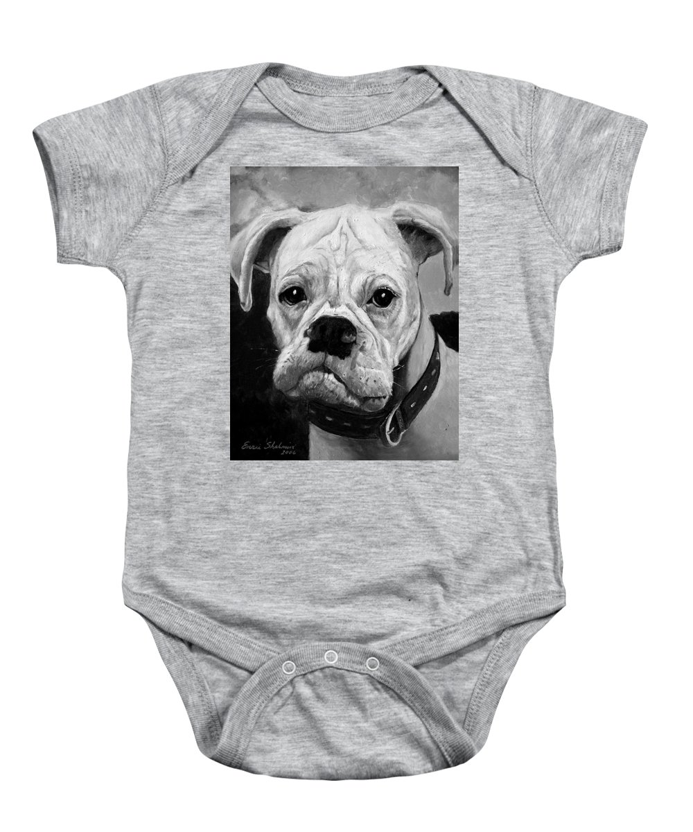 Boxer Baby Onesie featuring the painting Boo The Boxer by Portraits By NC