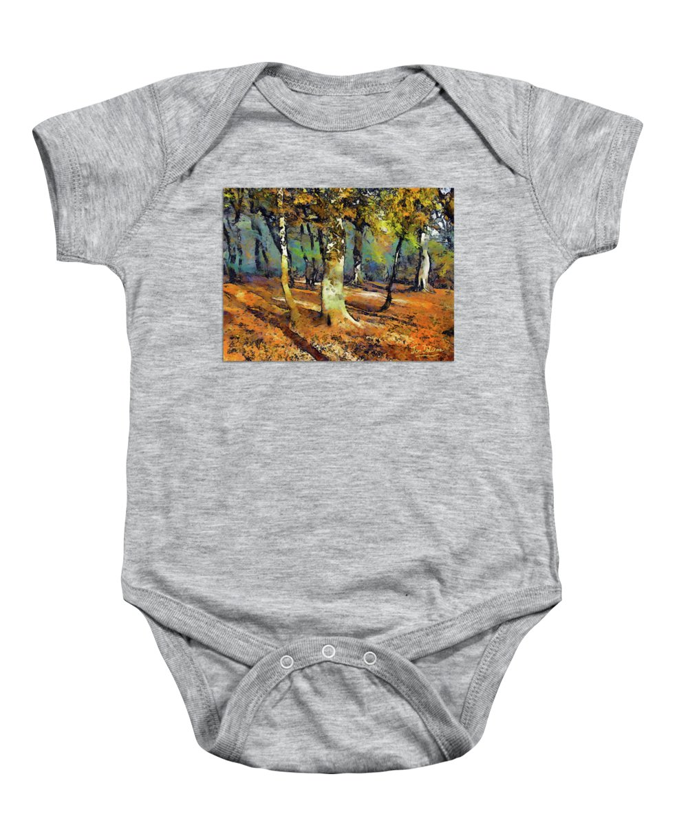 Woods Baby Onesie featuring the painting Booker Woods by Jon Delorme