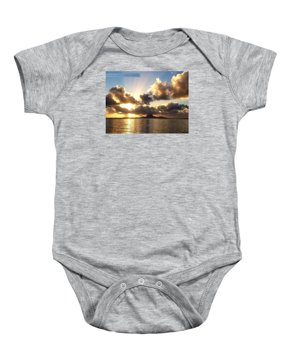 French Polynesia Baby Onesie featuring the photograph Bora Bora Sunset by Evelyne Gaudin