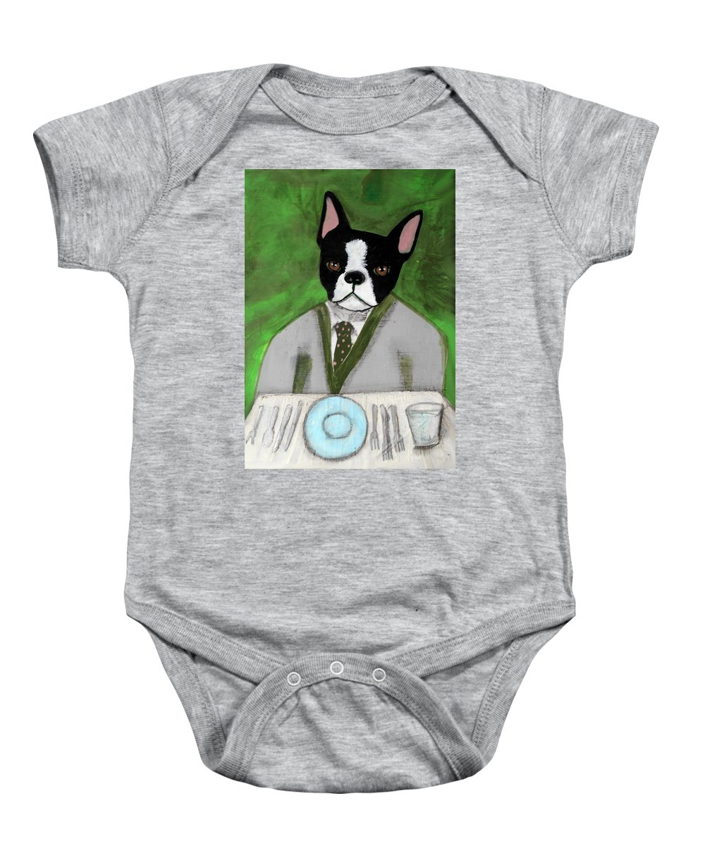 Dogs Baby Onesie featuring the painting Boston Terrier At A Formal Dinner by JoLynn Potocki