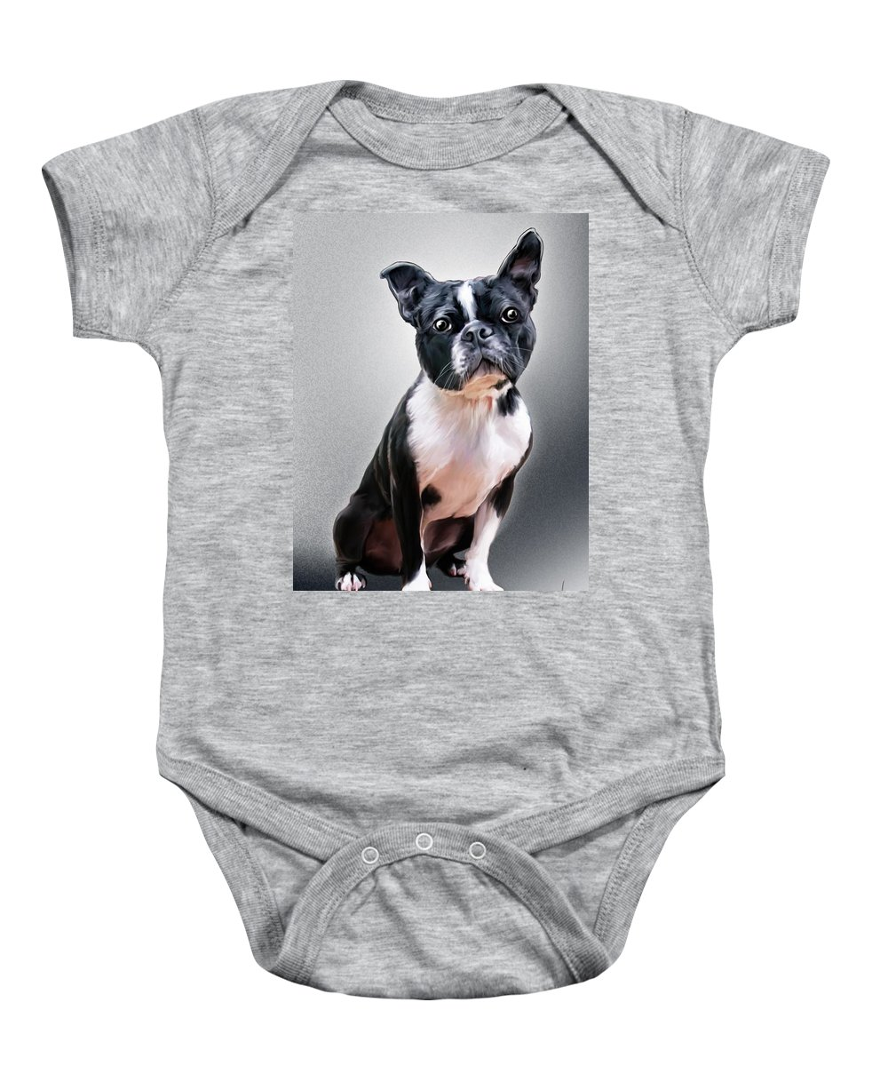 Spano Baby Onesie featuring the painting Boston Terrier By Spano by Michael Spano