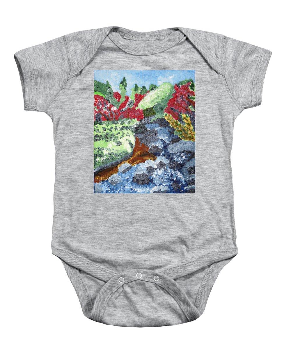 Landscape Baby Onesie featuring the painting Botanic Garden Merano 2 by Valerie Ornstein