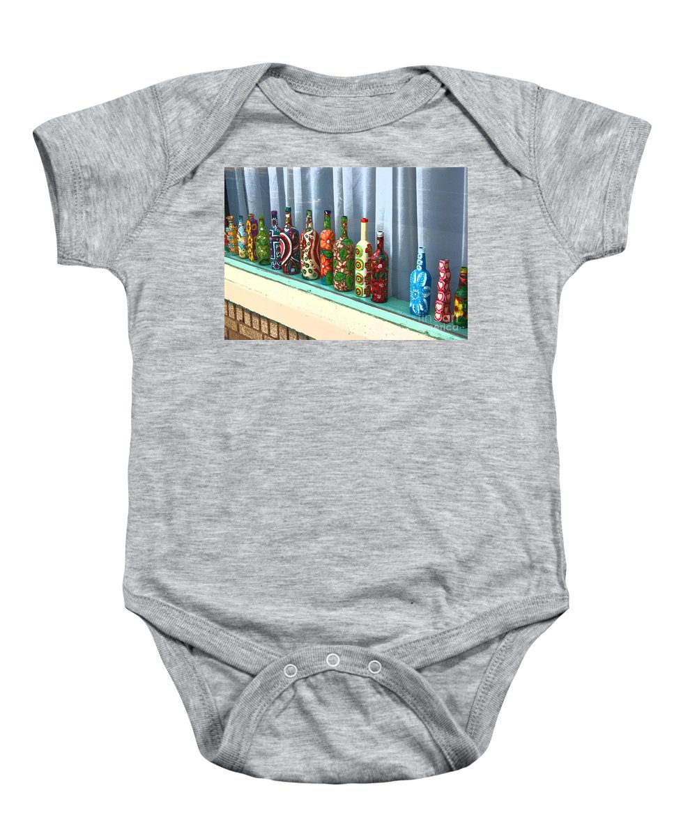 Bottles Baby Onesie featuring the photograph Bottled Up by Debbi Granruth