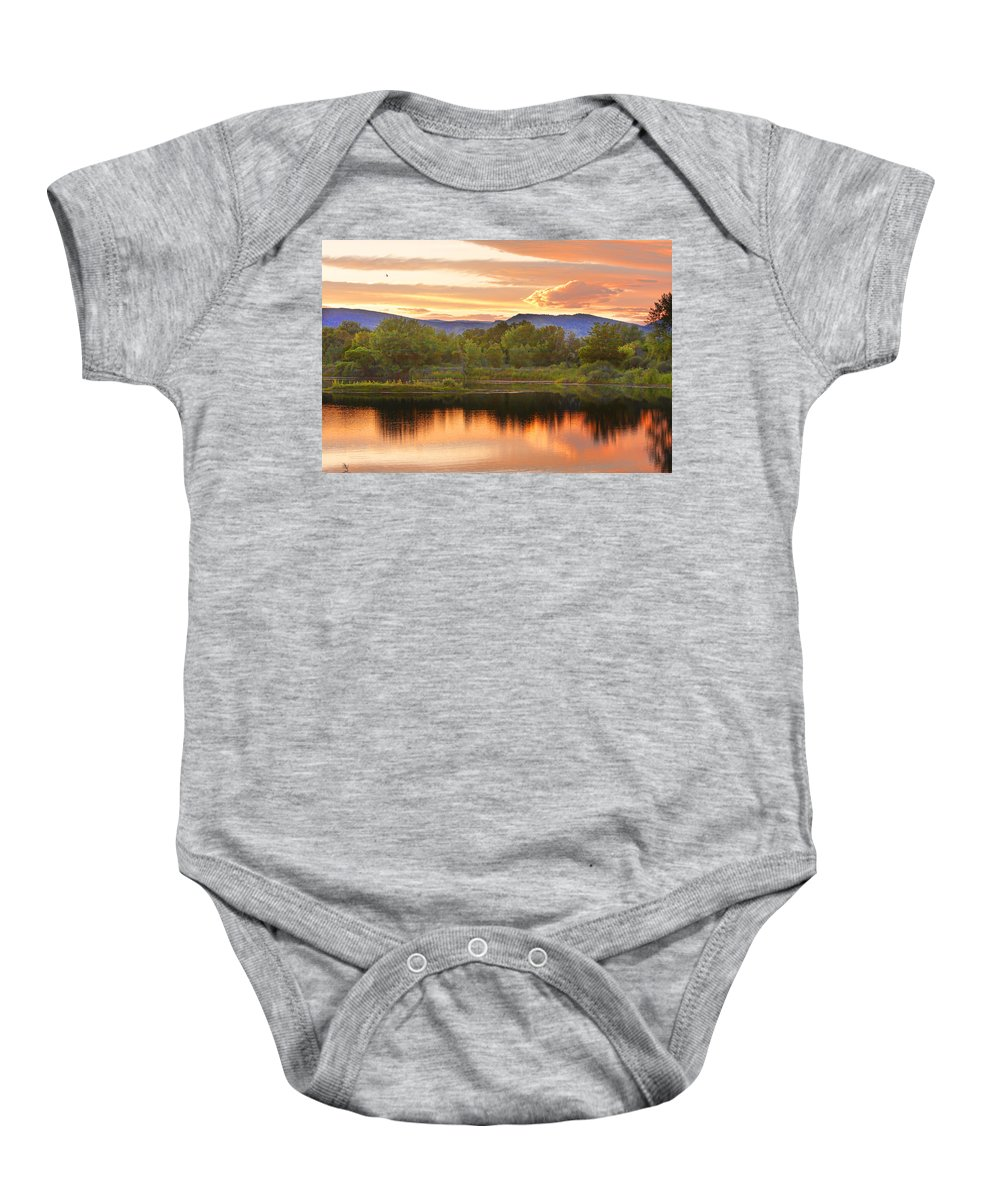 Sunsets Baby Onesie featuring the photograph Boulder County Lake Sunset Landscape 06.26.2010 by James BO Insogna