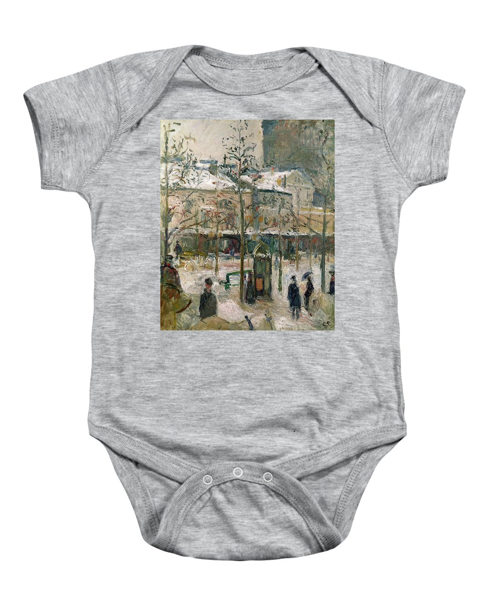 Boulevard Baby Onesie featuring the painting Boulevard De Rocheouart In Snow by Camille Pissarro