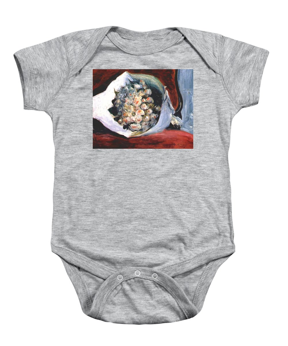Bouquet Baby Onesie featuring the painting Bouquet In A Theater Box by Renoir PierreAuguste
