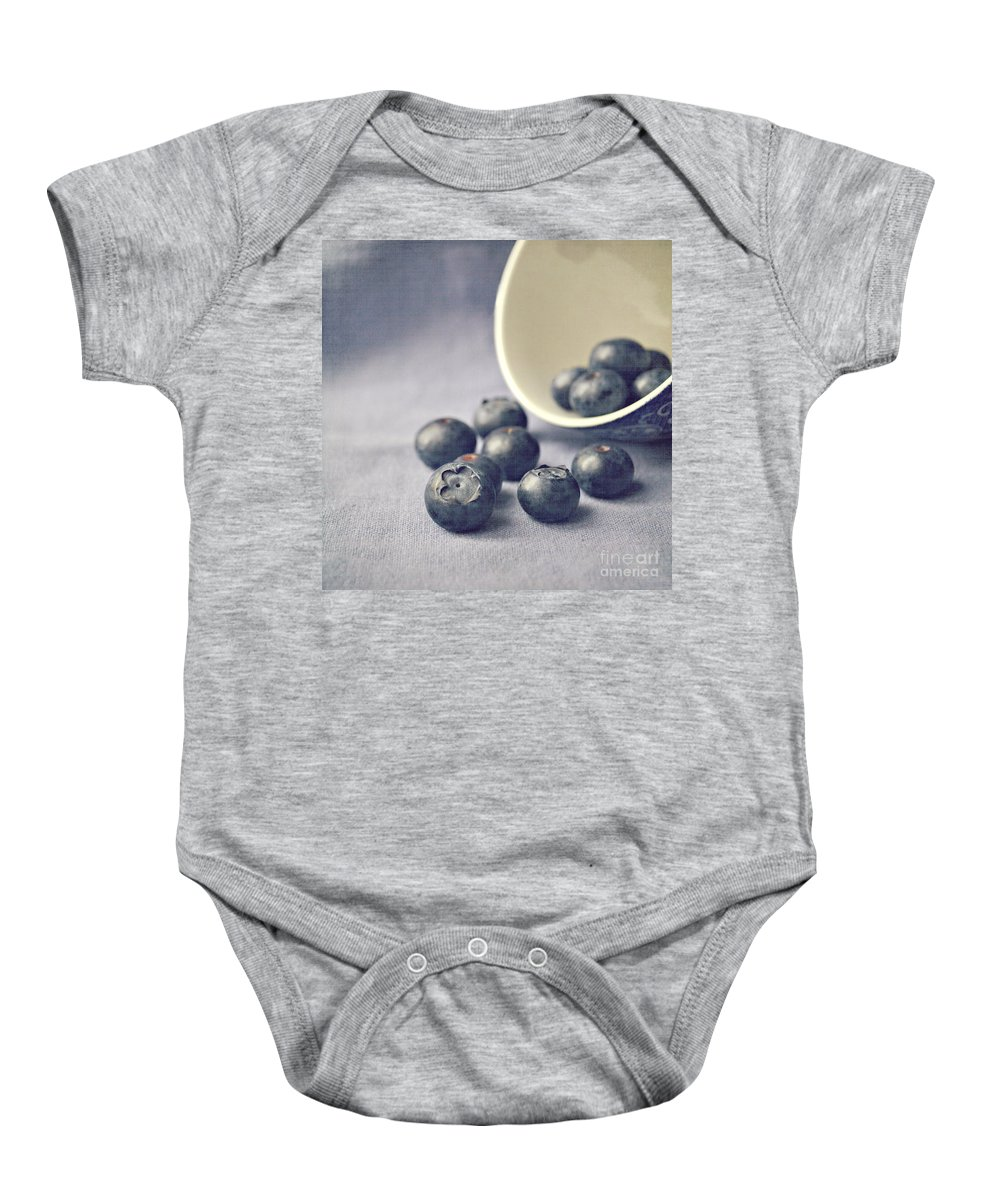 Blueberries Baby Onesie featuring the photograph Bowl Of Blueberries by Lyn Randle